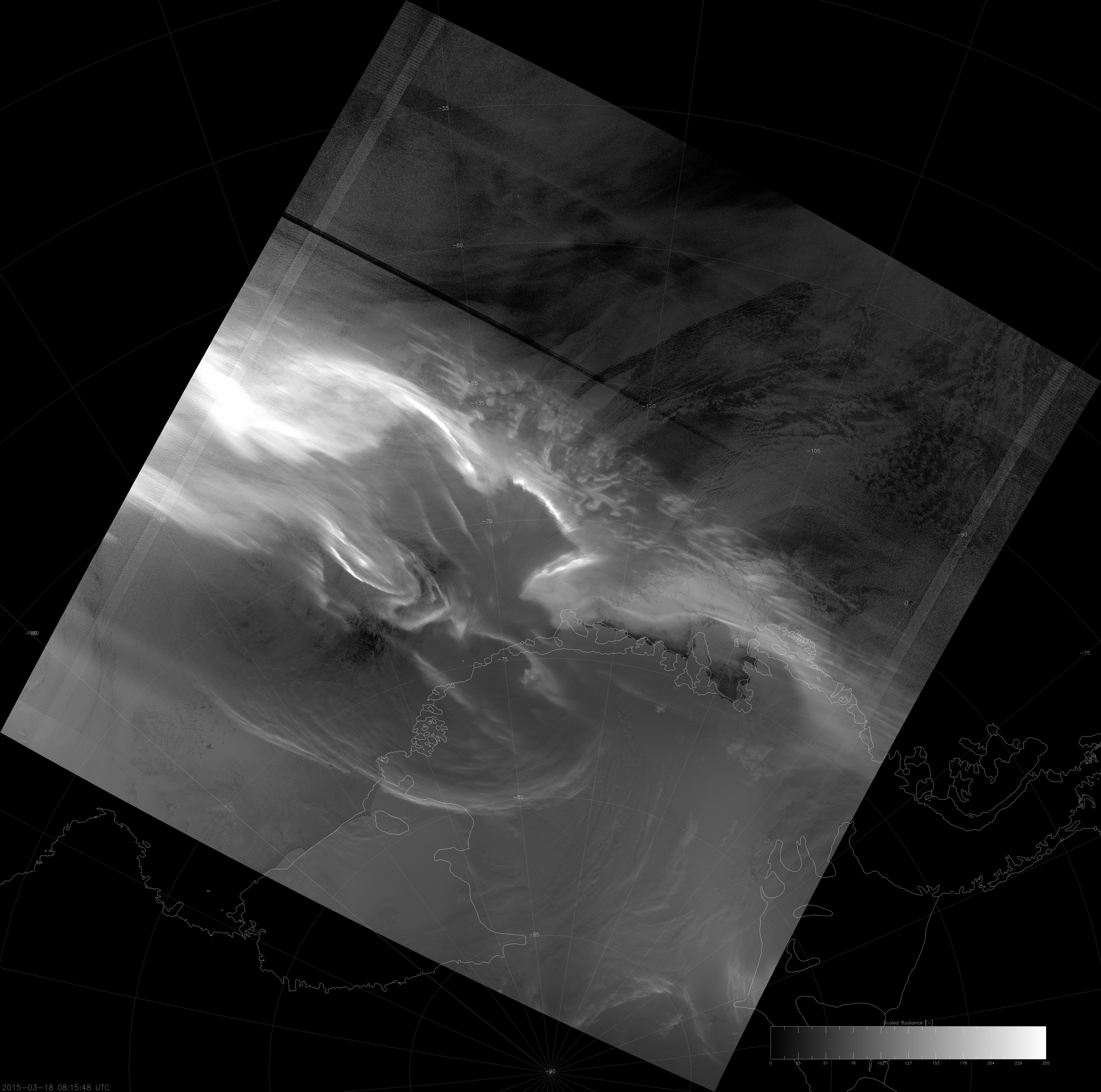 VIIRS DNB image of the aurora australis, 08:16 UTC 18 March 2015