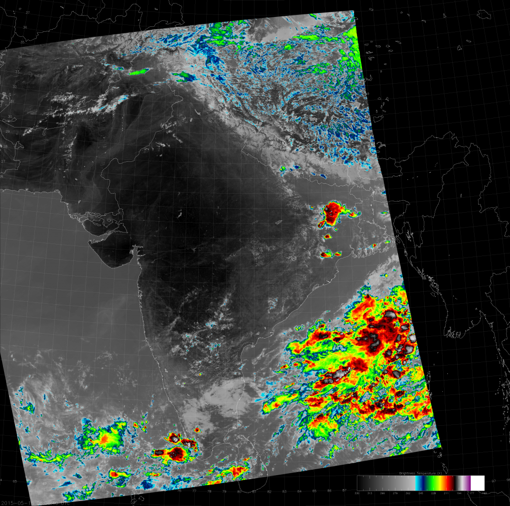 VIIRS IR (M-15) image from 08:06 UTC 18 May 2015.