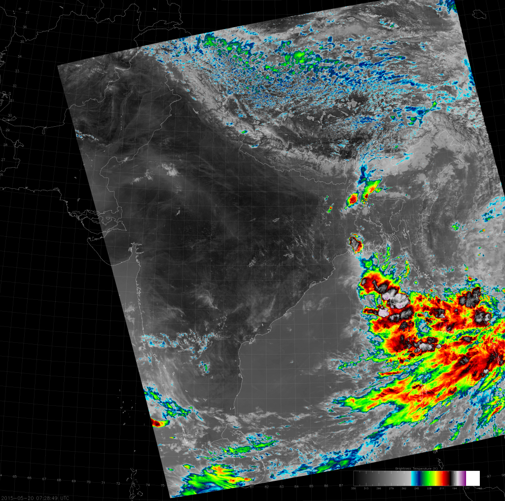 VIIRS IR (M-15) image, taken 07:28 UTC 20 May 2015