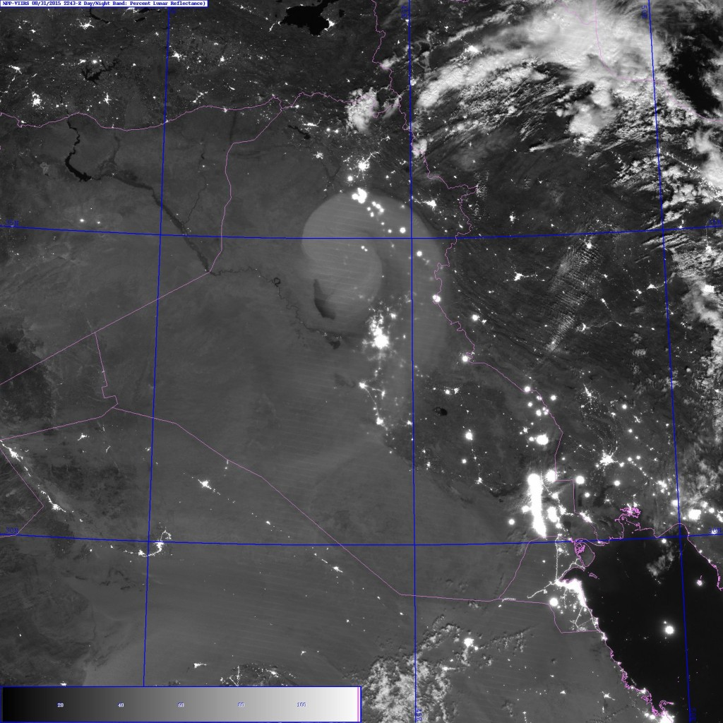 VIIRS Day/Night Band image of Iraq (22:43 UTC 31 August 2015)