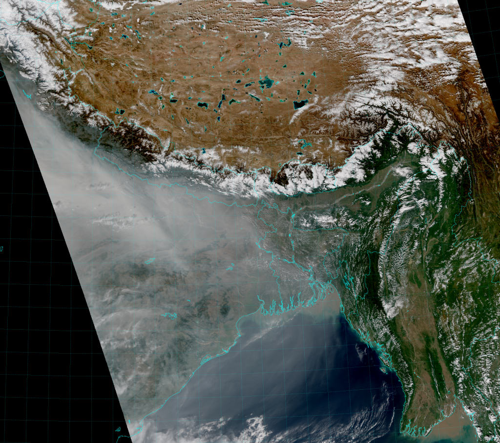 VIIRS True Color RGB composite of channels M-3, M-4 and M-5 (06:50 UTC 14 November 2015)