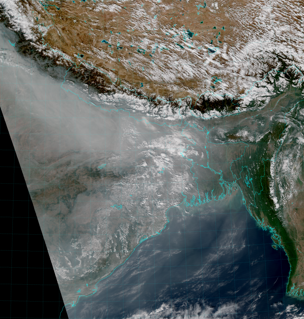 VIIRS True Color RGB composite of channels M-3, M-4 and M-5 (06:56 UTC 5 December 2015)