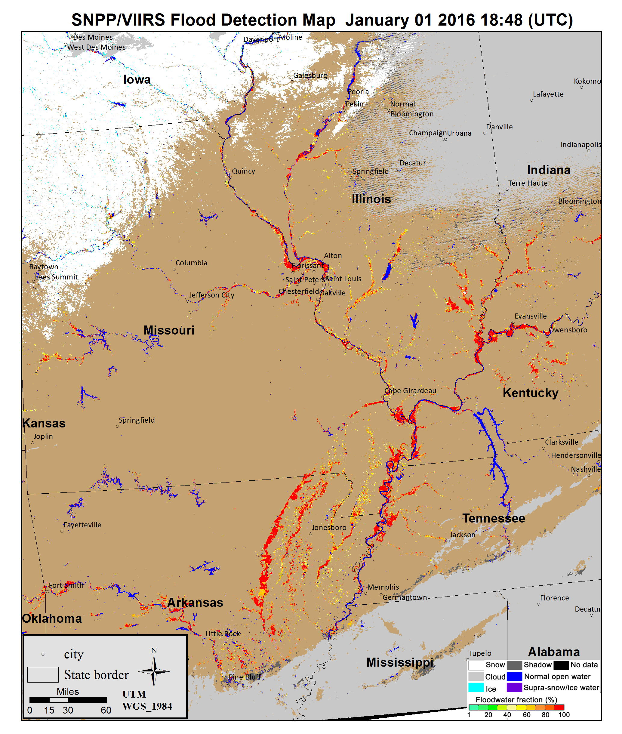 The Great Flood Of Suomi NPP National Polarorbiting - Usa map midwest