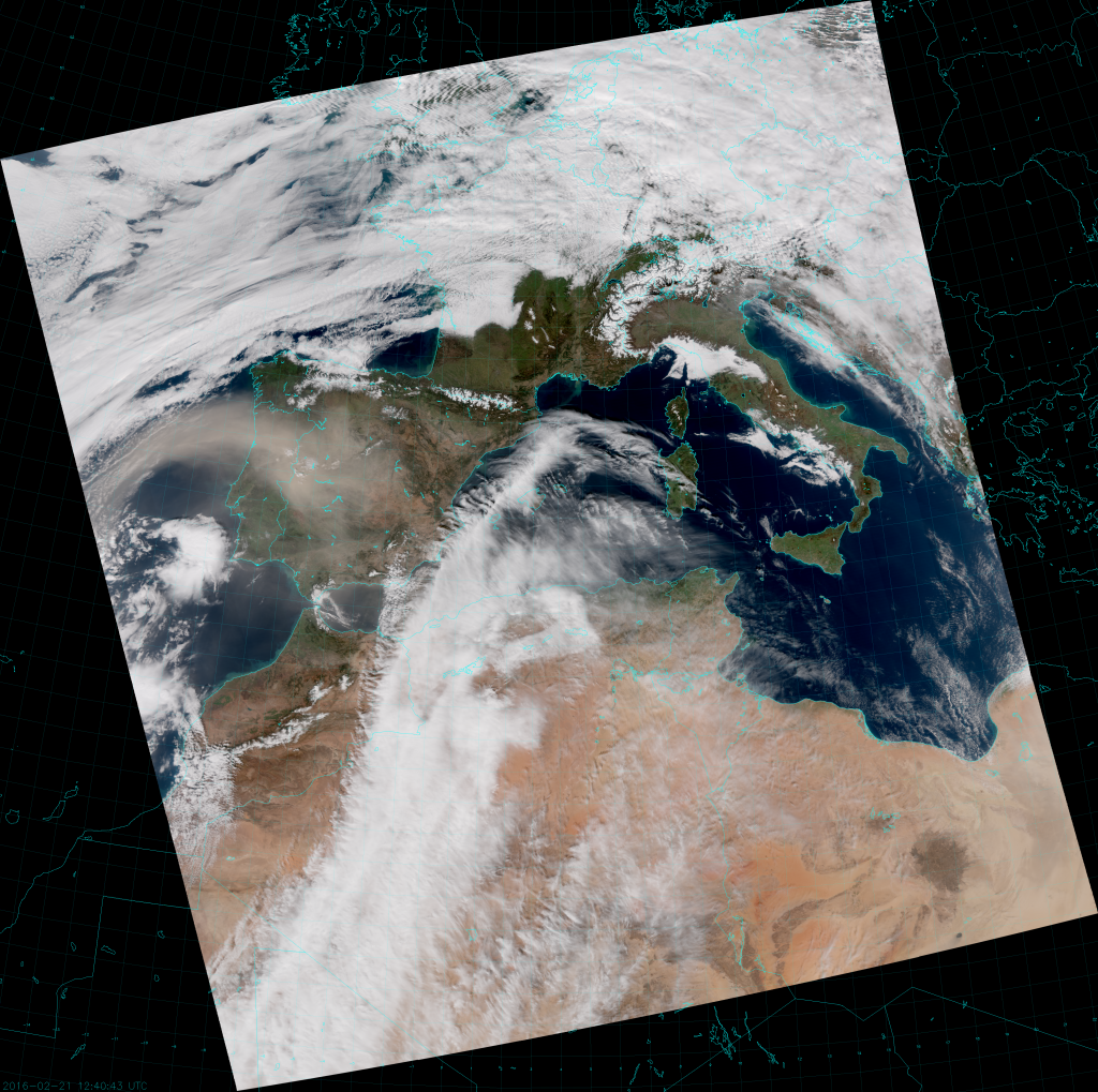 VIIRS True Color RGB composite of channels M-3, M-4 and M-5 (12:40 UTC 21 February 2016)