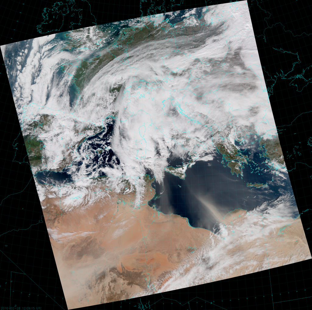 VIIRS True Color RGB composite of channels M-3, M-4 and M-5 (12:09 UTC 28 February 2016)