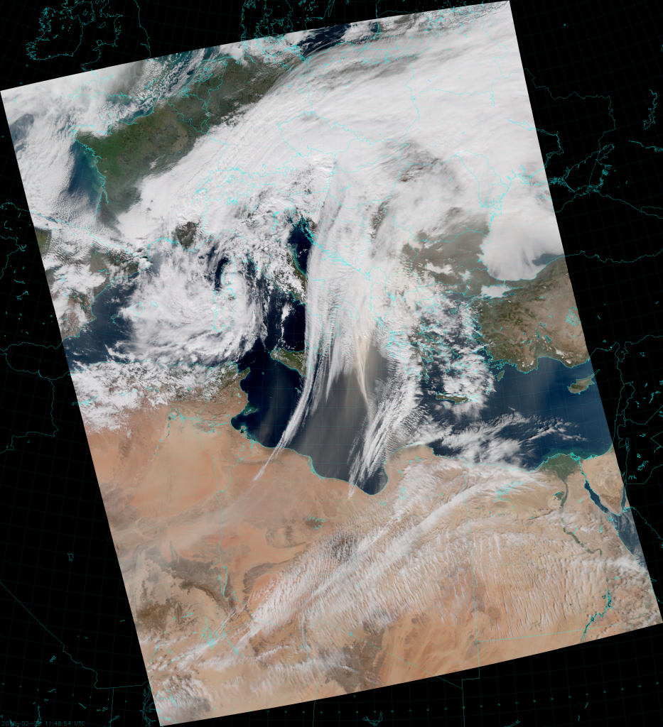VIIRS True Color RGB composite of channels M-3, M-4 and M-5 (11:48 UTC 29 February 2016)