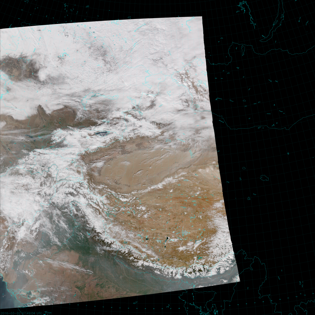 VIIRS True Color RGB composite of channels M-3, M-4 and M-5 (07:49 UTC 2 March 2016)