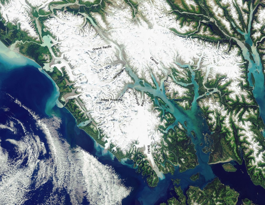 Glacier Bay National Park as viewed by Landsat (courtesy US National Park Service)