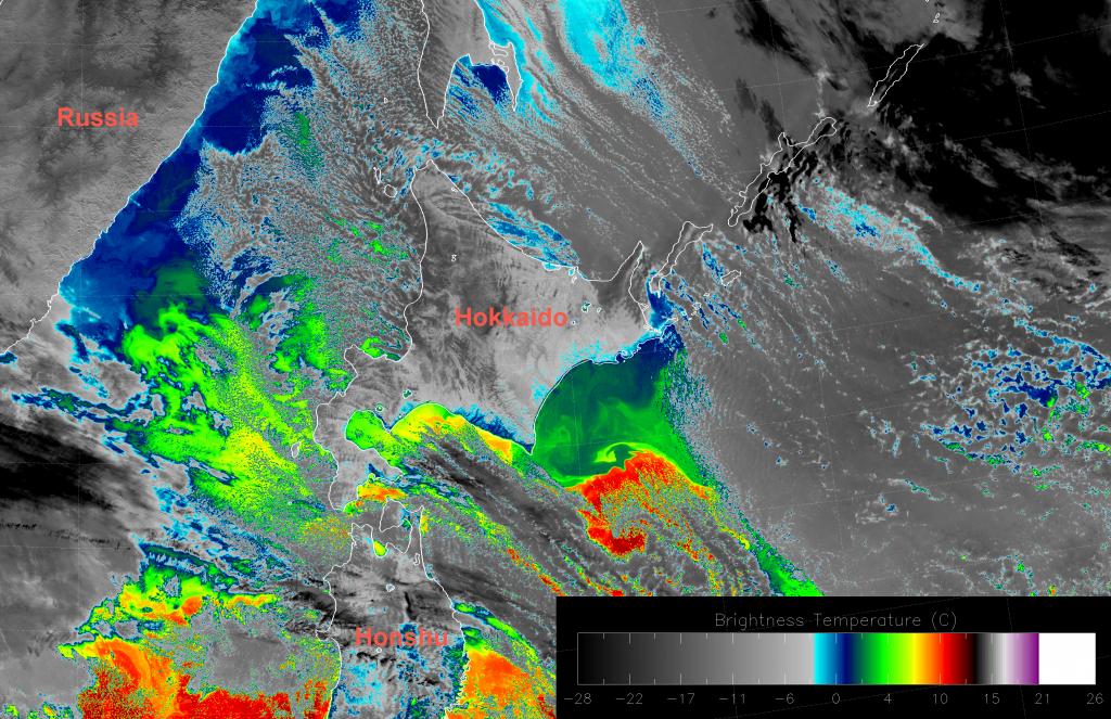 VIIRS I-5 (11.45 um) image (03:45 UTC 12 December 2016)