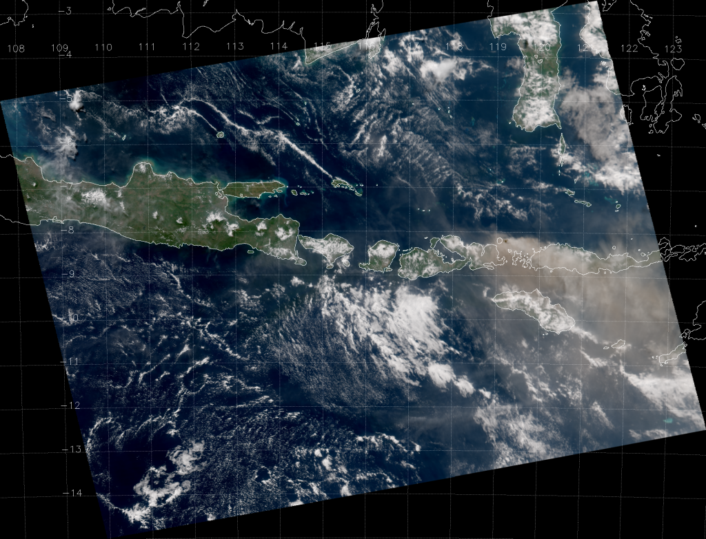 VIIRS True Color RGB composite of channels M-3, M-4 and M-5 (06:20 UTC 31 May 2014)