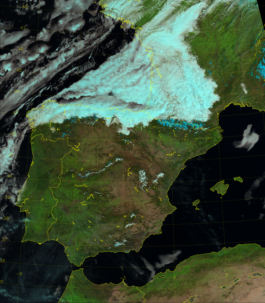 VIIRS Natural Color RGB composite of channels M-5, M-7 and M-10 (13:05 UTC 18 March 2014)