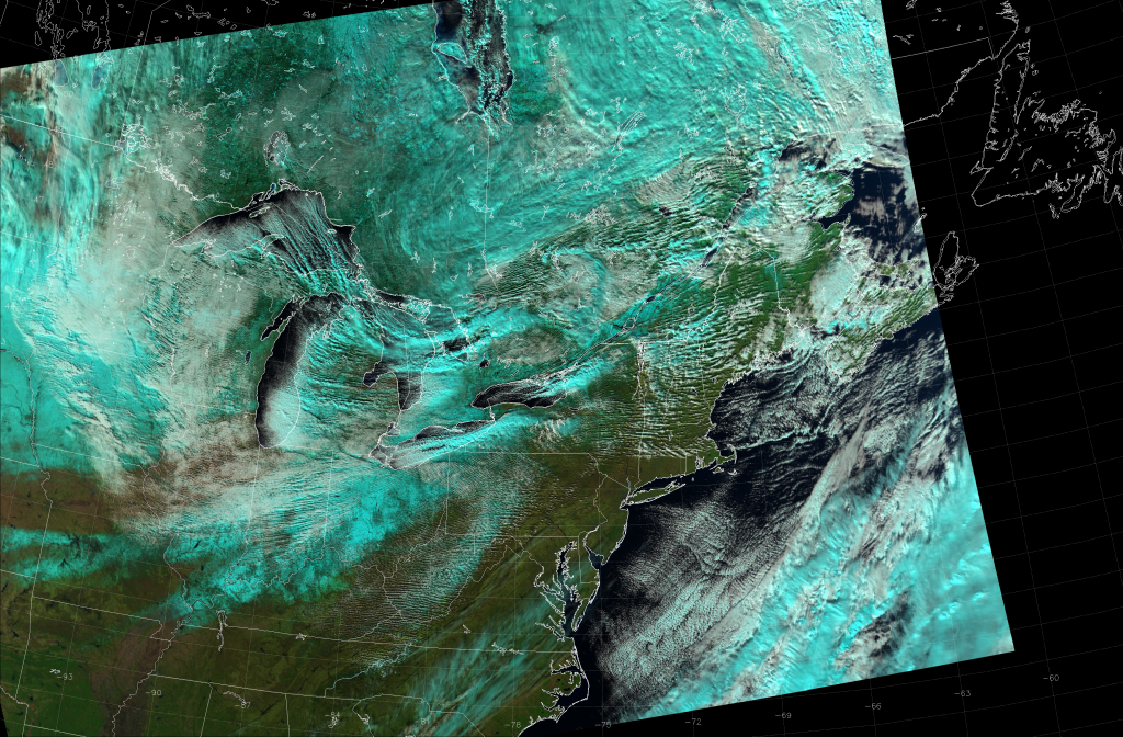 VIIRS Natural Color RGB composite of channels M-5, M-7 and M-10 (18:20 UTC 18 November 2014)