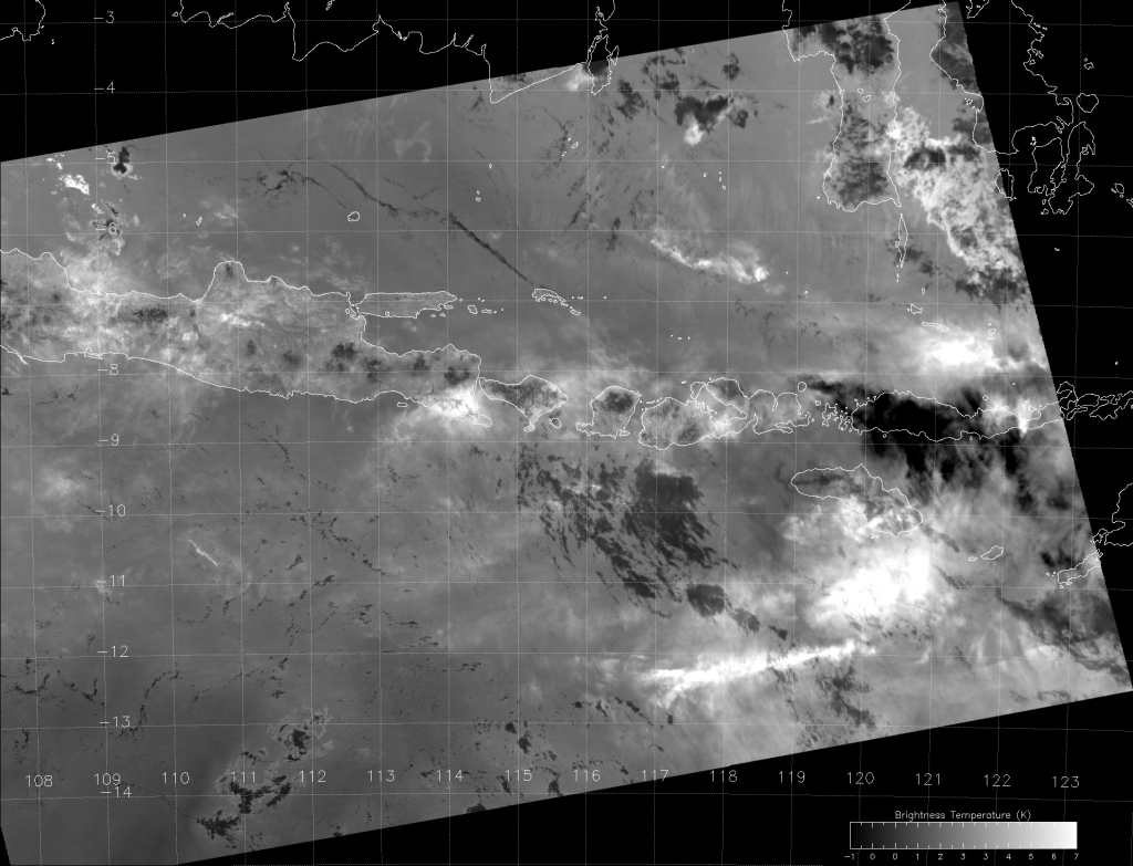VIIRS split-window difference (M-15 - M-16) image (06:20 UTC 31 May 2014)