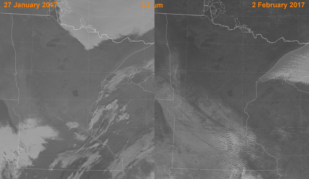 Comparison of VIIRS high-resolution mid-wave IR (I-4) images