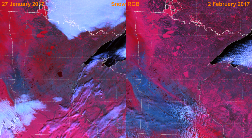 "Comparison of VIIRS ""Snow RGB"" composites of channels M-11, M-10 and M-7"