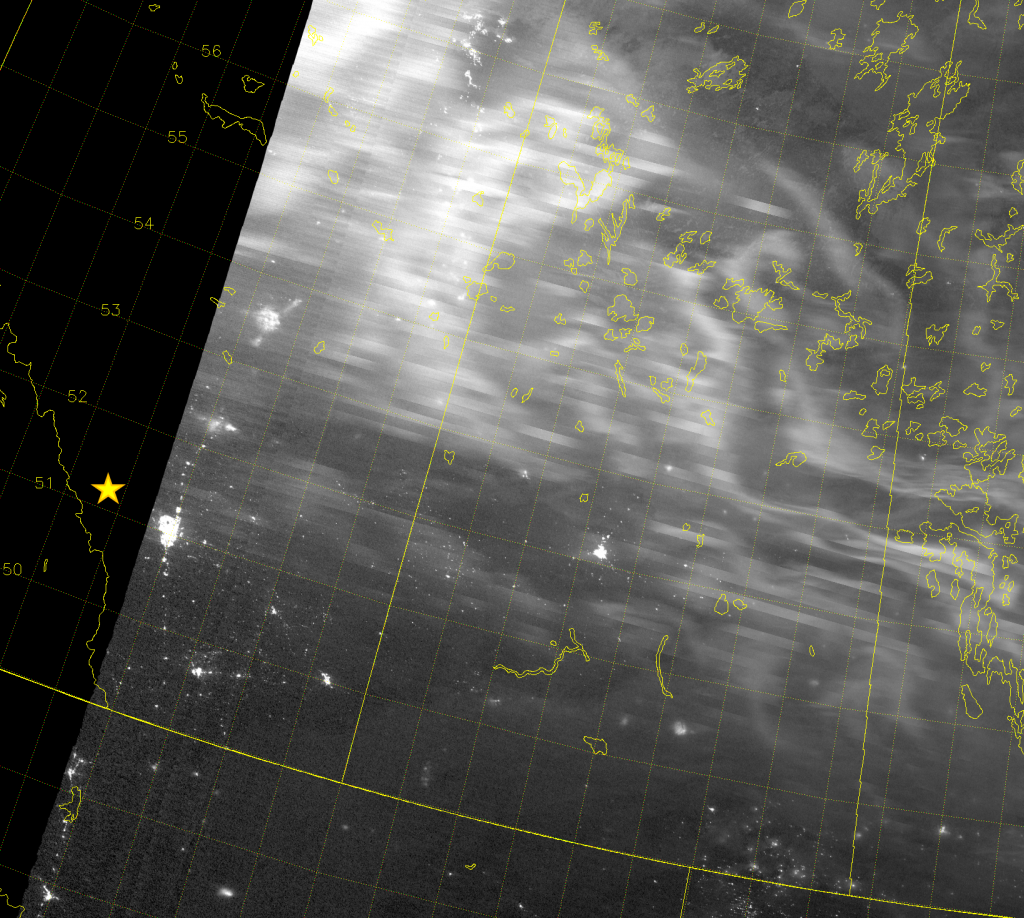 VIIRS Day/Night Band image above zoomed-in on Lake Minnewanka.