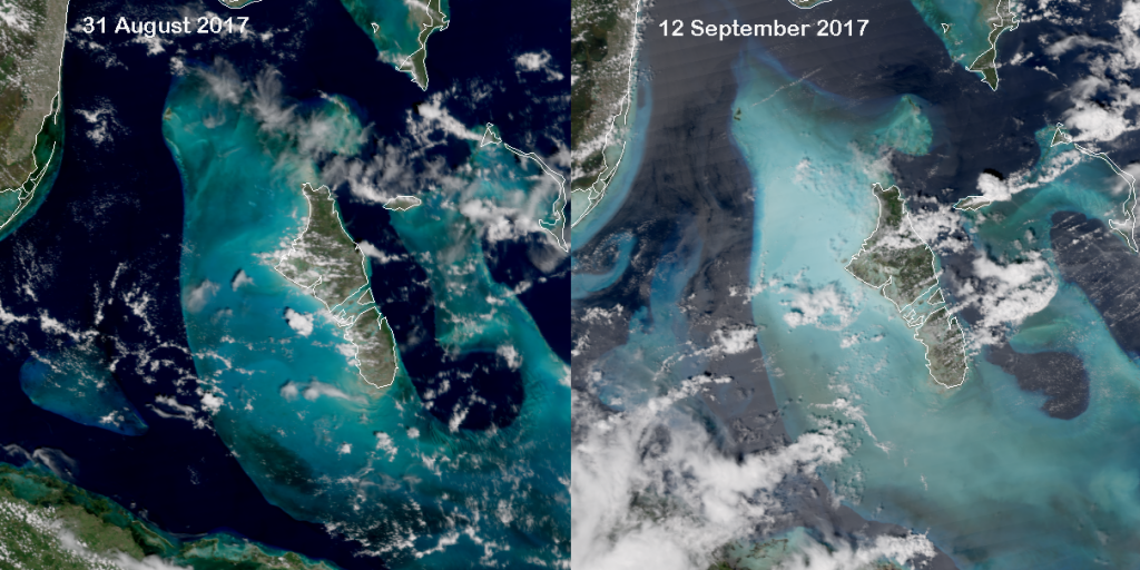 Comparison of VIIRS True Color images before and after Hurricane Irma (2017)