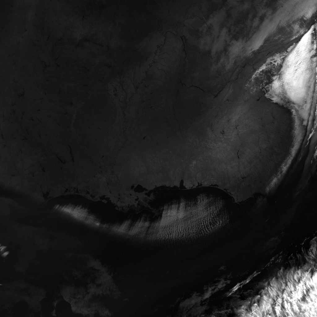 S-NPP VIIRS channel M-9 image displayed with maximum contrast (18:34 UTC, 17 January 2018)