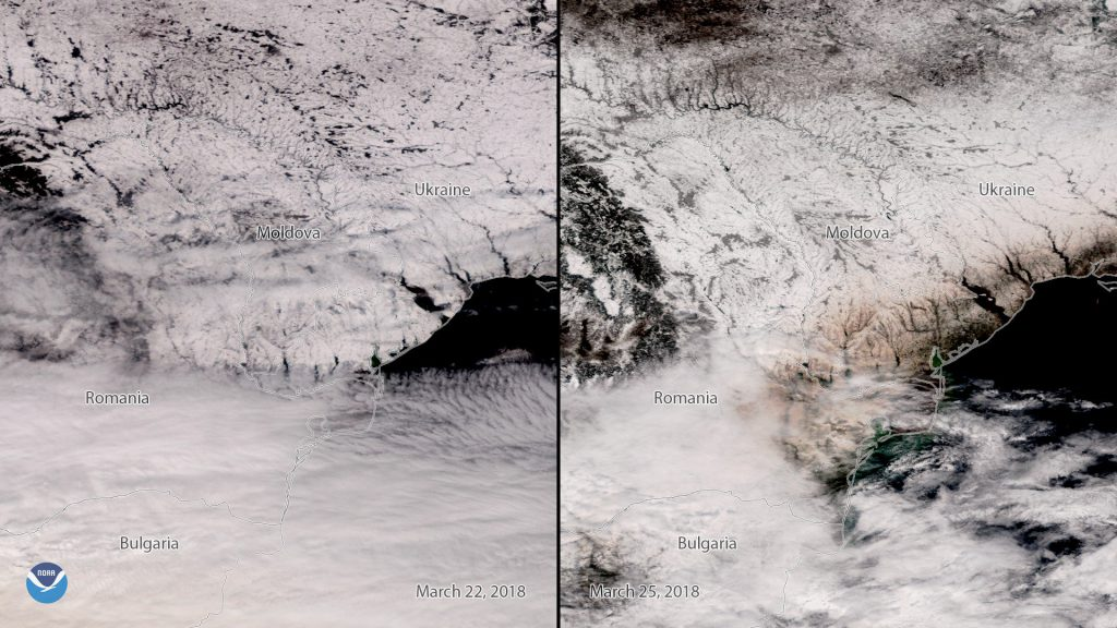 """Before"" and ""After"" S-NPP VIIRS true color images from 22 March 2018 (left) and 25 March 2018 (right) showing dust on snow in eastern Europe."