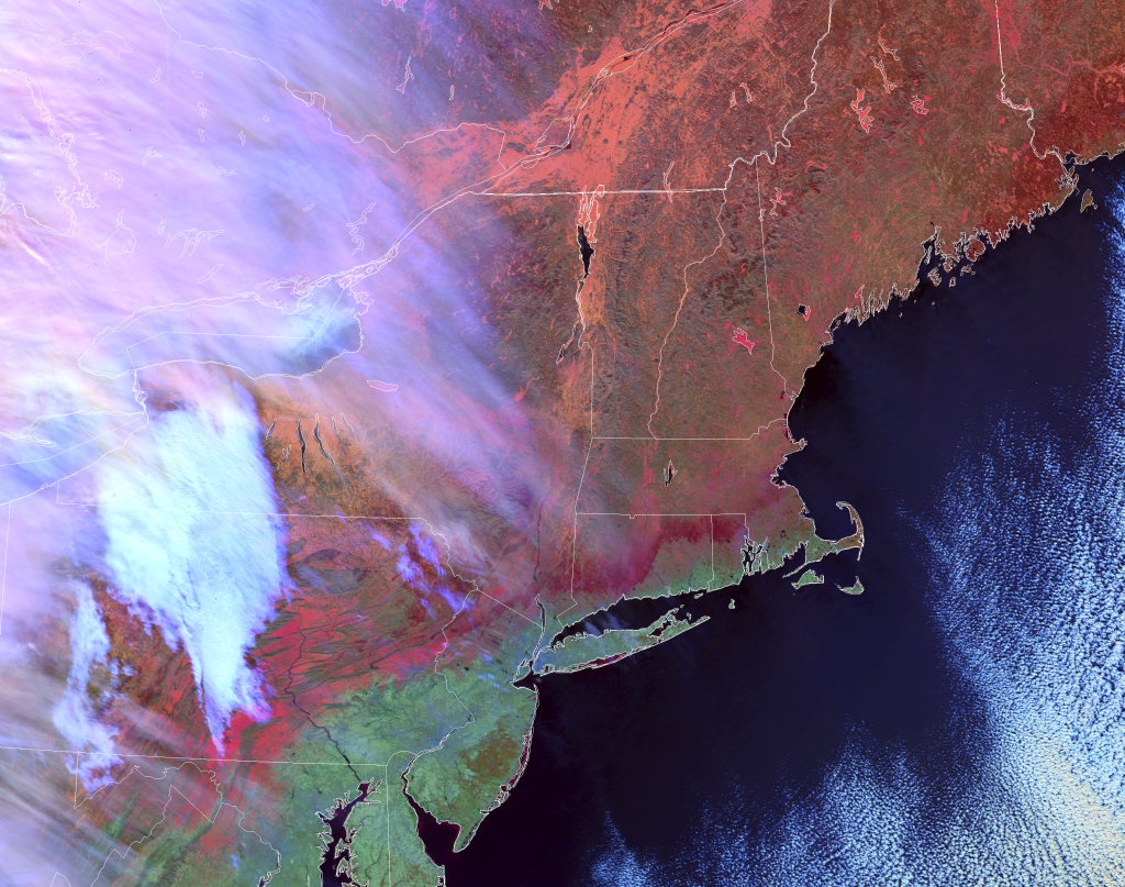 VIIRS Day Snow/Fog RGB composite of channels (I-5 - I-4), I-3 and I-2 from NOAA-20 (17:09 UTC, 22 January 2019)