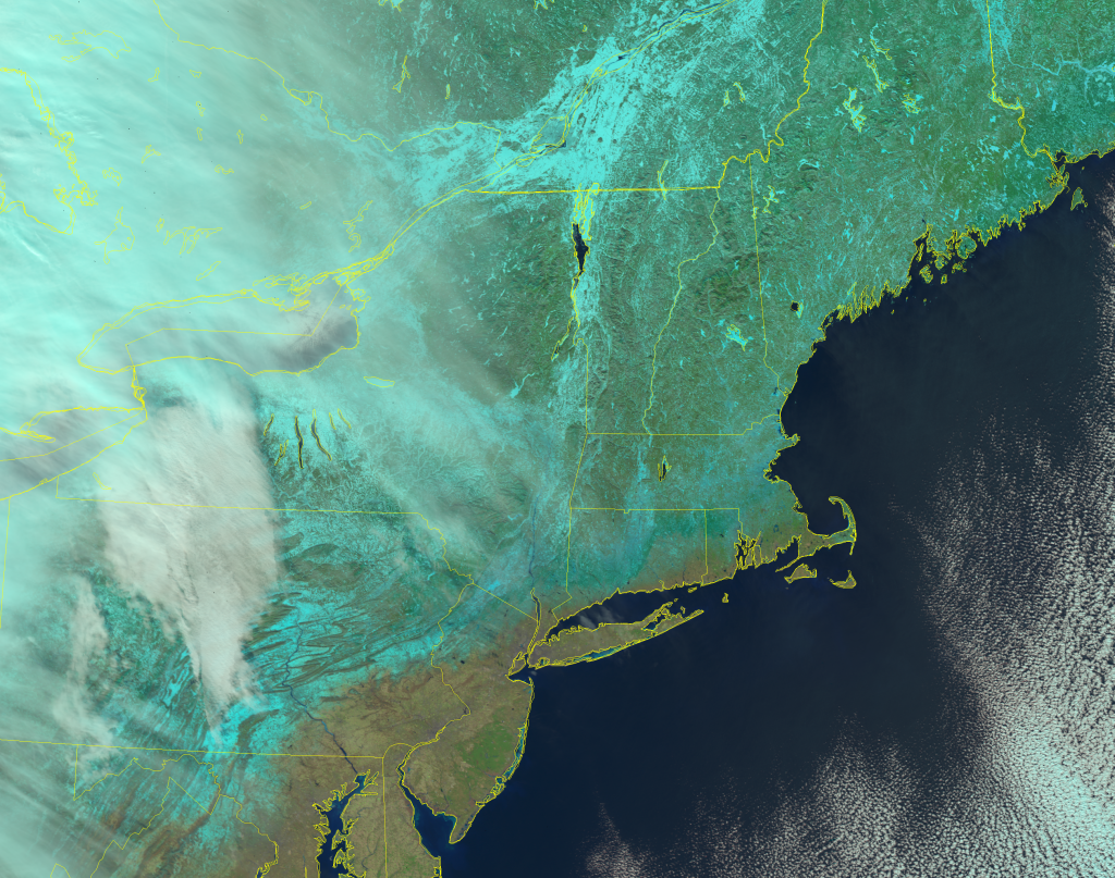 VIIRS Natural Color RGB composite of channels, I-1, I-2 and I-3 from NOAA-20 (17:09 UTC, 22 January 2019)