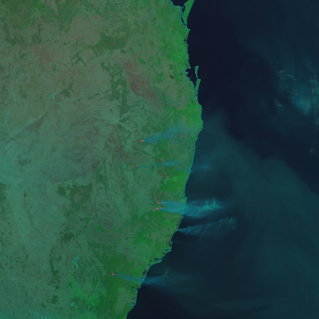 S-NPP VIIRS Day Land Cloud Fire RGB composite of bands I-1, I-2 and I-4 (03:49 UTC, 7 November 2019)