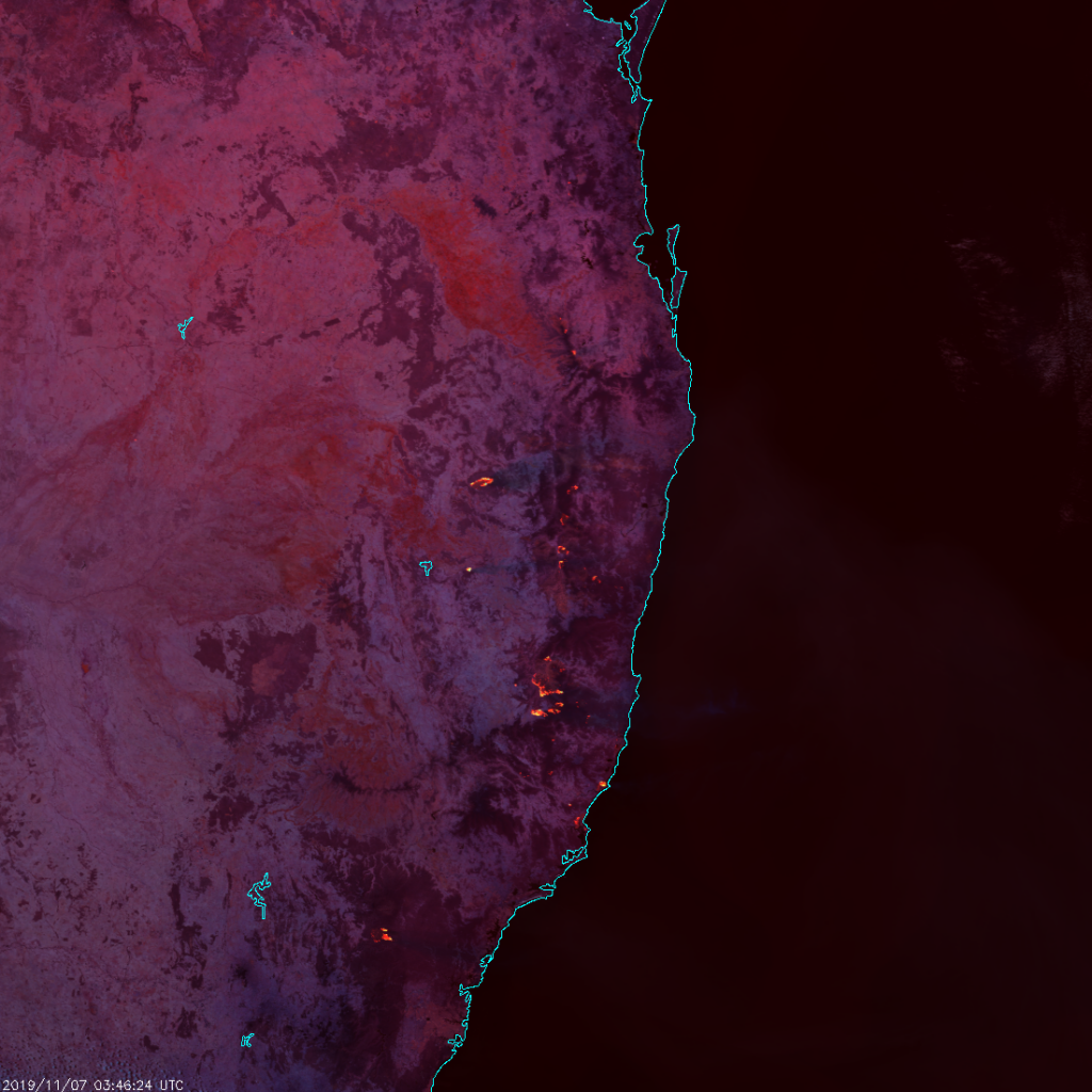 S-NPP VIIRS Fire Temperature RGB composite of bands M-10, M-11 and M-12 (03:46 UTC, 7 November 2019)